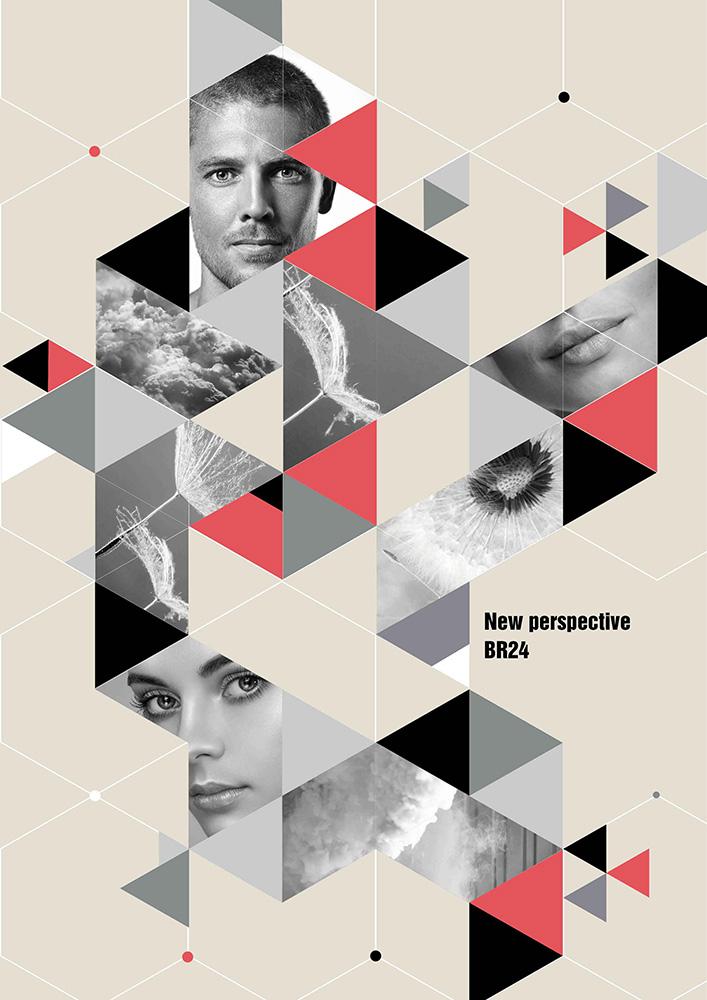 Br24 Layoutgestaltung: Ein kreatives Poster mit verschiedenen geometrischen Elementen