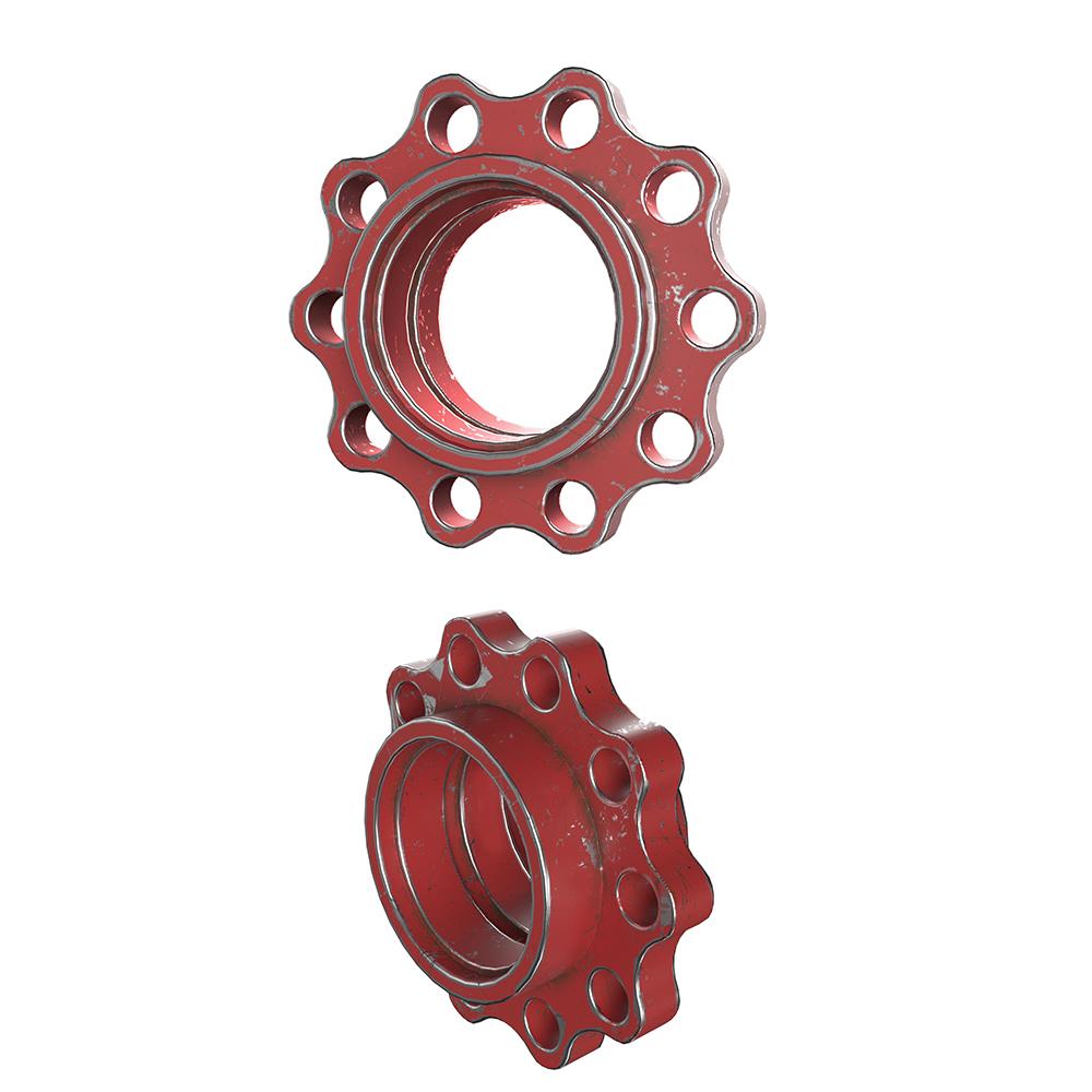 Br24 CGI / 3D: rote Schraube in zwei verschiedenen Perspektiven in used-look