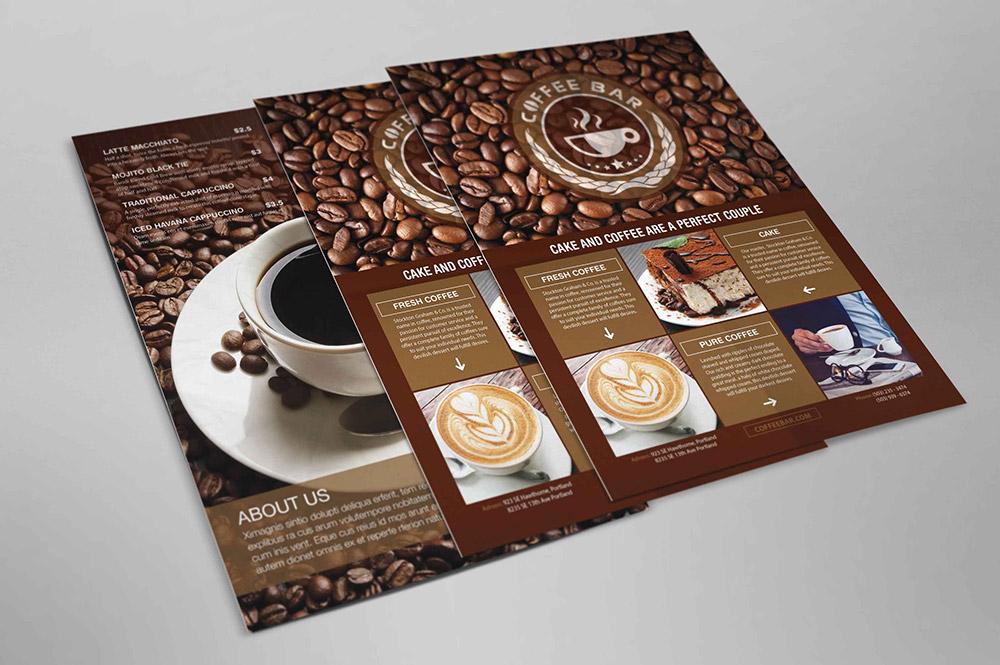 Br24 Layoutgestaltung: Kreatives Layout von Flyers einer Kaffeebar
