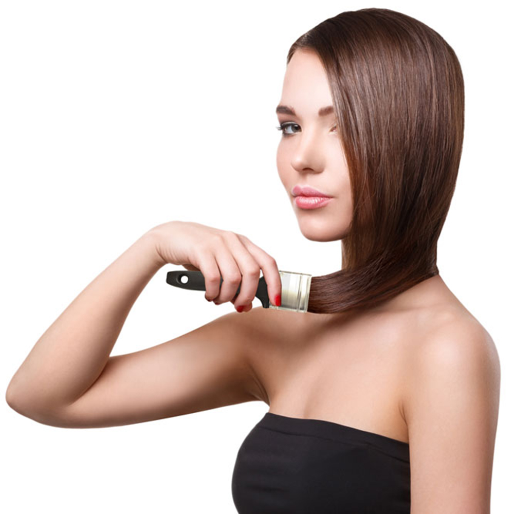 Br24 Composing & Advertising: beautiful woman with long brown hair, painting the hair with a paintbrush
