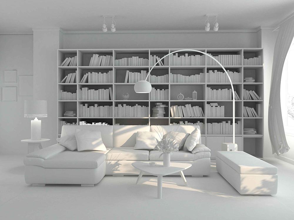 Br24 CGI / 3D: Wohnzimmer als 3D Modell bevor Rendering