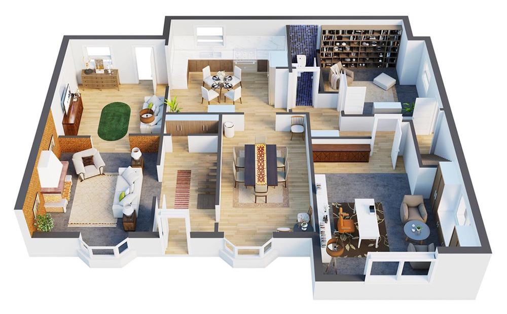 Br24 CGI/3D, Real Estate: Architecture, digital floor plan of an apartment, including furniture