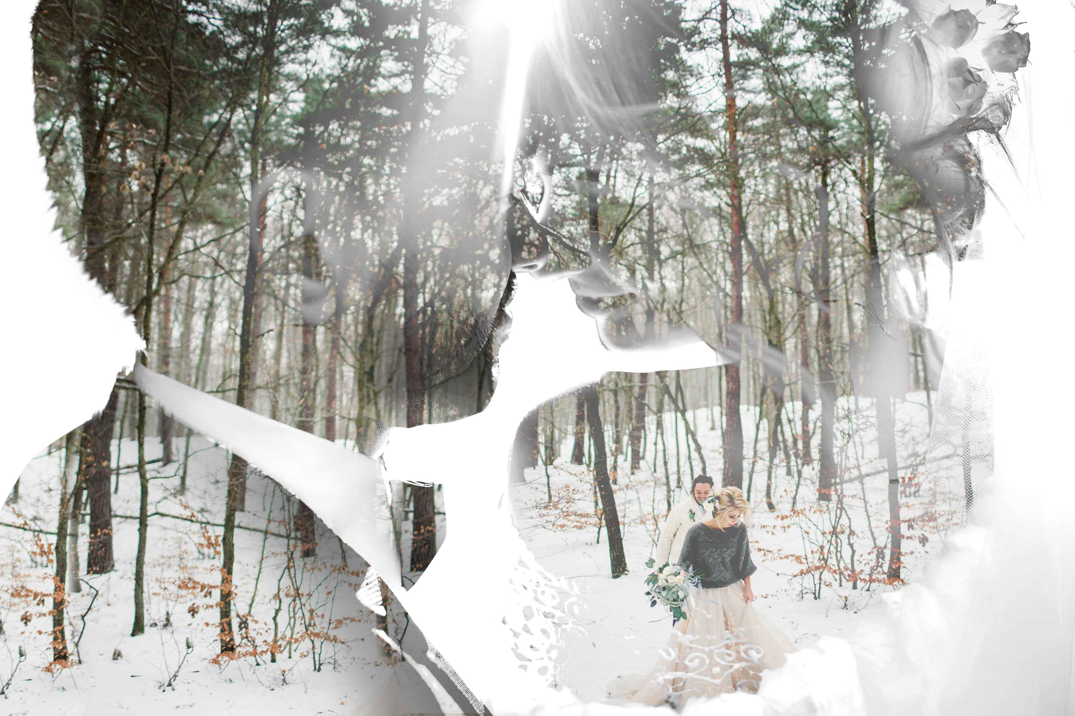 Br24 Composing: wedding photography happy couple merged with a snowy forest, double exposure / Hochzeitsfotografie von glücklichem Paar verbunden mit einer verschneiten Waldlandschaft, Doppelbelichtung