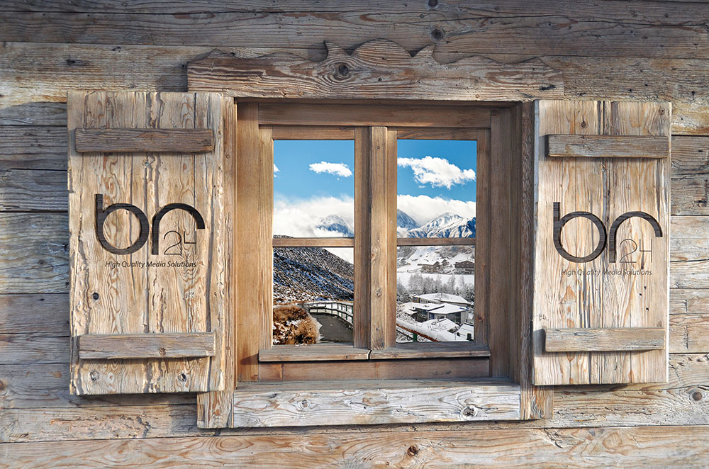 Br24 CGI: Wooden window with view to winter landscape