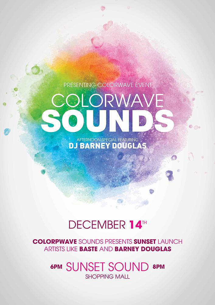 Br24 Layoutgestaltung: Plakat für Musikfestival, minimalistischer Stil mit Regenbogenfarben und Text