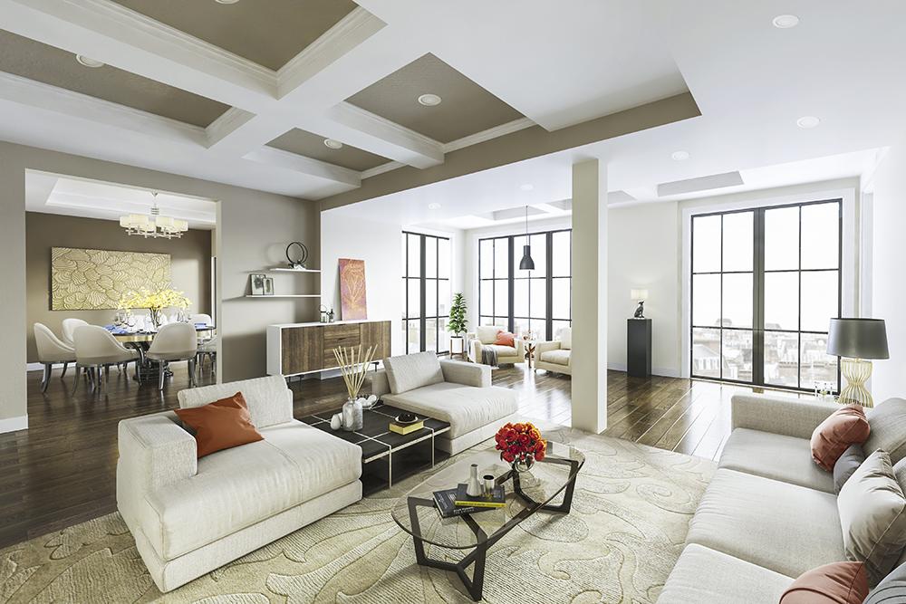 Br24 CGI / 3D: Architektur & Immobilien, Innenansicht, modernes Wohnzimmer mit Sofalandschaft, Teppichen, Dekorationen und Essbereich
