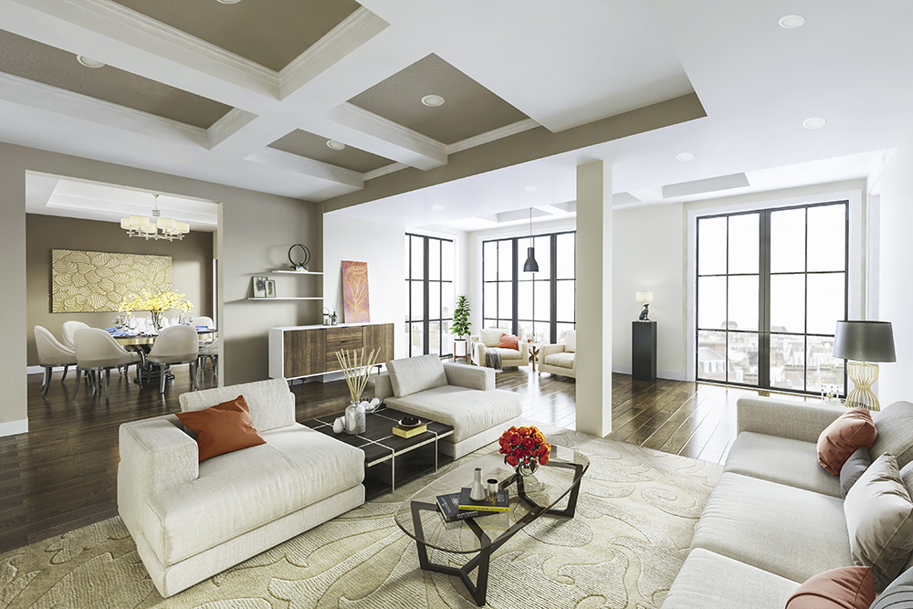 Br24 CGI / 3D: architecture & real estate, interior, modern living room with sofa, rugs, decorations and dining area