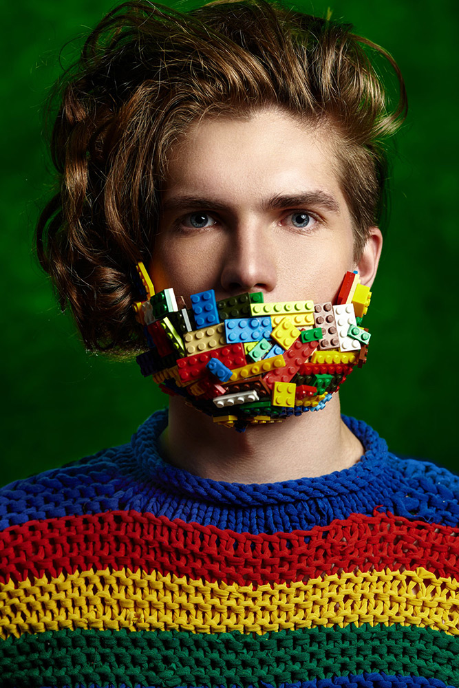 Br24 Retouching: Photography & Advertising, portrait of Caucasian man with beard made of Lego