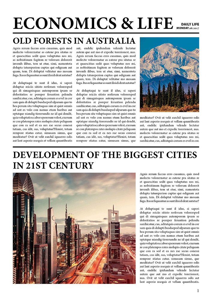 Br24 Layout Design: Newspaper, text in combination with pictures