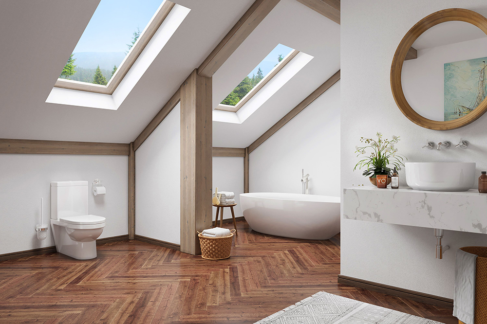 Br24 / 3D: interior view, modern bathroom with sloping ceilings and wooden beams, parquet floor, flooded with light